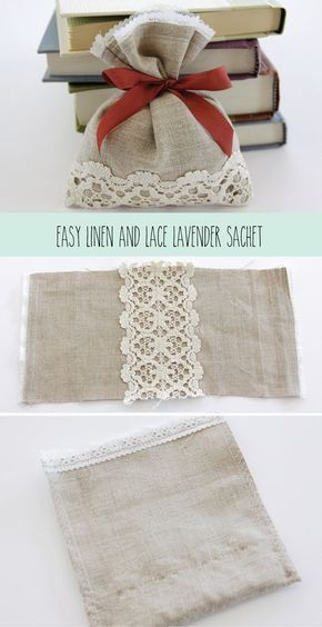 With Gray linen, seafoam lace, and lavender ribbons, fill with lavender potpourri, and attach key bottle opener. Ria// Easy Linen and Lace Lavender Sachet