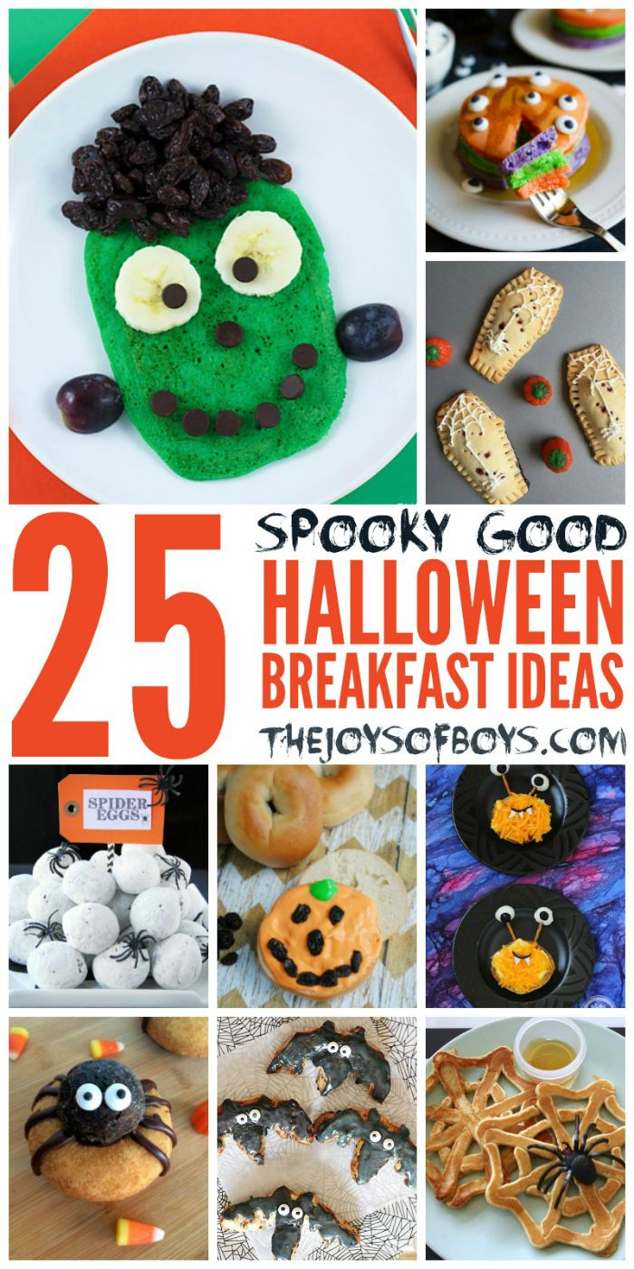 These Halloween Breakfast Ideas are SPOOKY!  I love them!  My boys would love the Frankenstein pancakes!