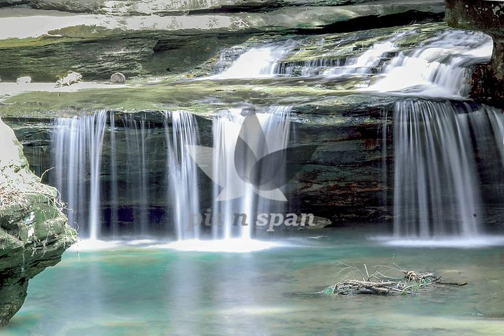 Royalty free stock photo, image | Waterfall - waterfall, long exposure, scenic, calm, peace, blue water, postcard