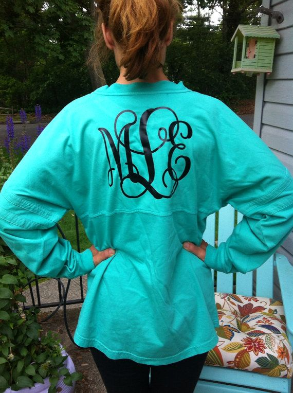 Monogrammed Prep Jersey - NEW COLORS AVAILABLE - Personalized - We have glitter lettering too! on Etsy, $30.00