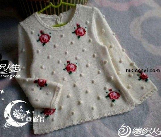 Пуловер для девочки с розами  СХЕМА / PATTERN http://mslanavi.com/2014/10/pulover-dlya-devochki-s-rozami/