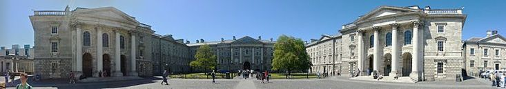 Trinity College, Dublin~A panorama taken from Parliament Square. The row of buildings is framed by the Public Theatre on the left and the Chapel on the right. In the middle lies Regent House with its archway leading to the Front Gate.