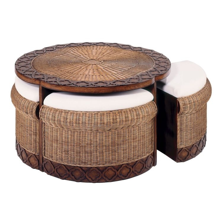 Heckman Furniture Rattan Coffee Table With Stools 42 Inches Round