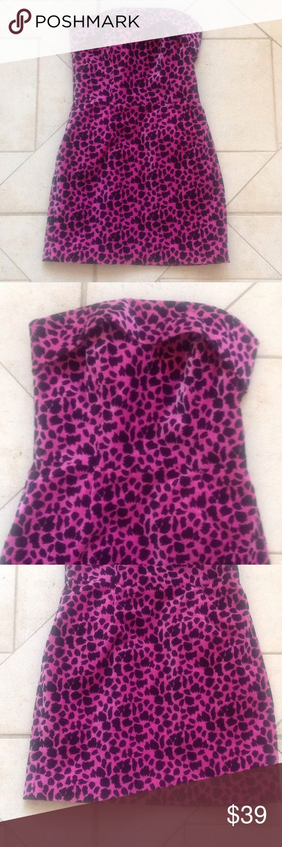 BETSEY JOHNSON Animal Print Strapless Dress Sz 4 GREAT BUY! Describes this Pink/Black Animal Print Strapless BETSEY JOHNSON Dress that measures 16 inches from armpit to armpit; is 14 inches across the waist; is 17 1/2 inches across the hips; and is 26 inches in overall length. Betsey Johnson Dresses Mini