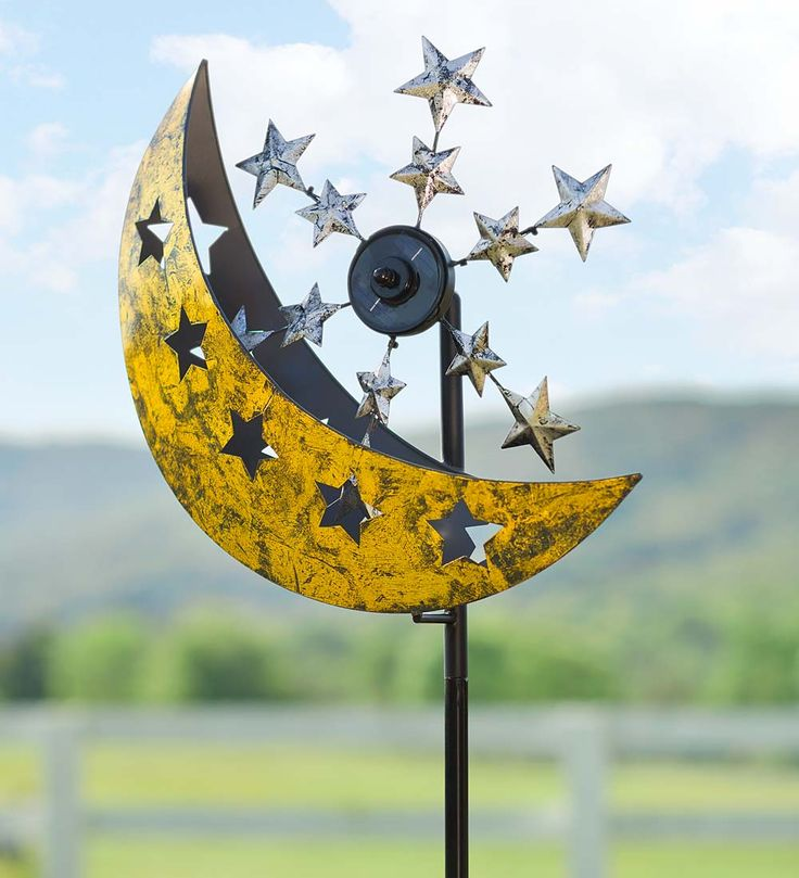 Wind U0026 Weather Solar Moon And Star Metal Wind Spinner