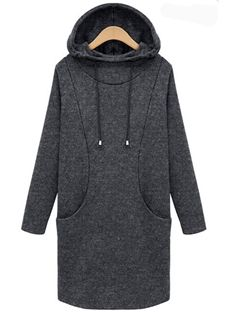 Medium Long Patch Pockets Plus Size Pullover Hoody