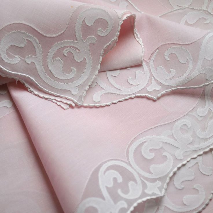 The quality of these beautiful vintage Madeira estate linens is superb.  Probably made by Imperial or possibly Jabara.  These are very fine pink