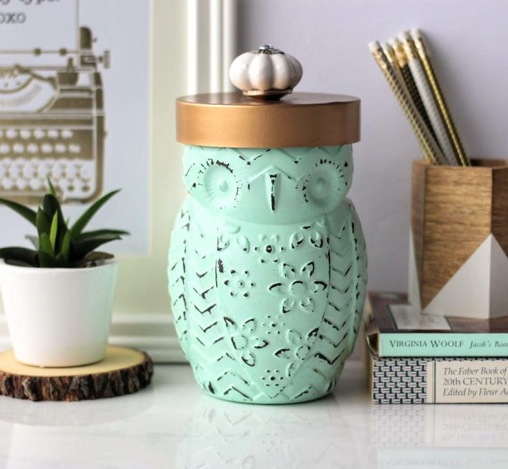 Mint Green Cookie Jar, Owl Candy Jar, Utensil Holder, Coffee Jar, Tea Jar, Owl Vase, Kitchen Decor, Desk Decor, Housewarming Gift by ShabbyChicRetreat on Etsy