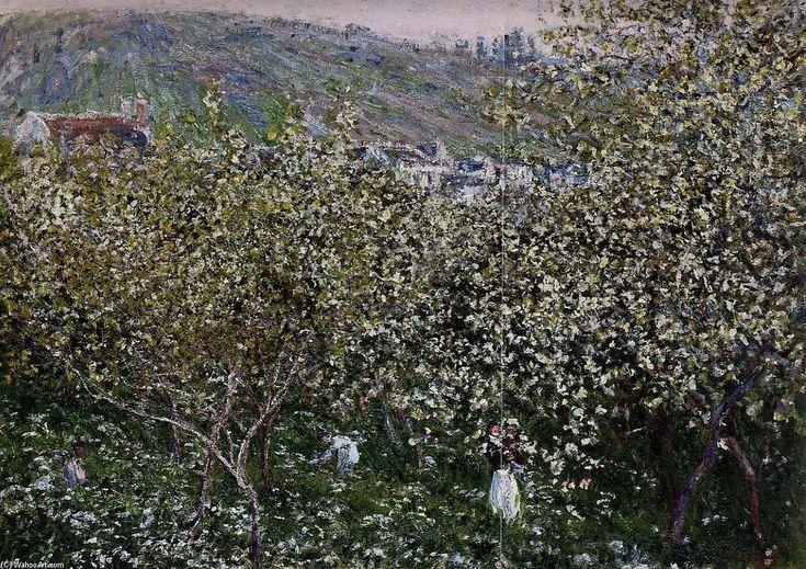 Acheter Tableau 'Vétheuil, la floraison des arbres Plum' de Claude Monet - Achat d'une reproduction sur toile peinte à la main , Reproduction peinture, copie de tableau, reproduction d'oeuvres d'art sur toile