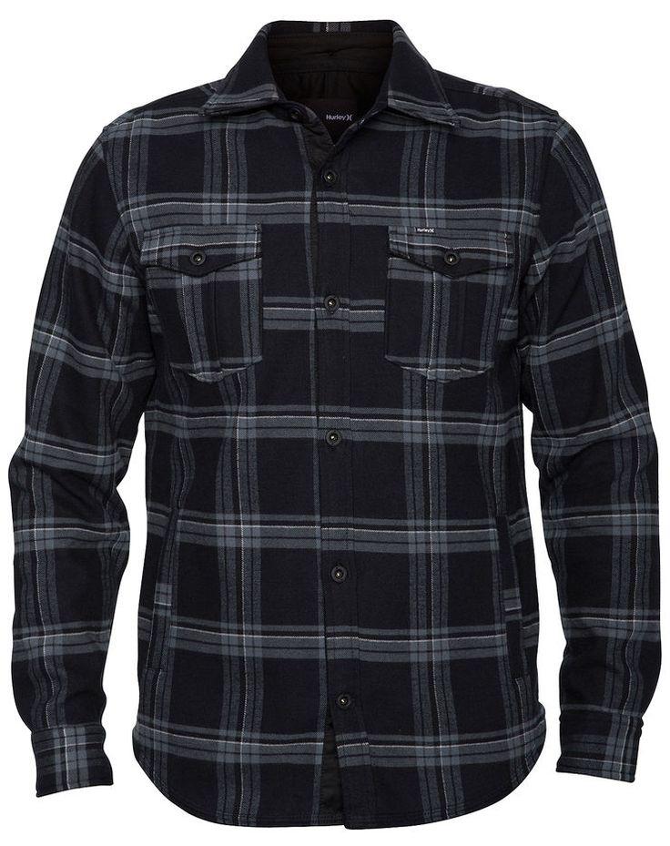Black Hurley Pivot Fleece Shirt Jacket Polar Fleece