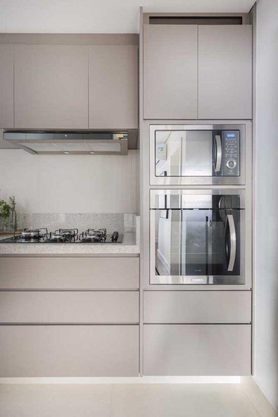 Cozinha Clean Com Granito Branco Armário Cozinha Pequena
