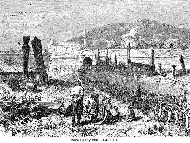 AdaKale, Balkan Crisis 1875 - 1878, occupation of the island of Ada Kaleh by Austria-Hungary, Romania, 31.51878, wood engraving, - Stock Image