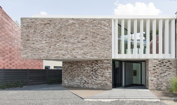 Exterior:Fantastic Brick Tiled Home Wall And White Shuttered Wall Constructed Above Entrance Area In Free Modern Exterior Tile For House Flo...