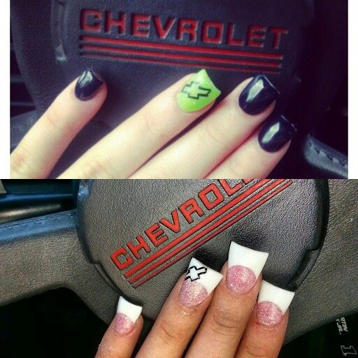 Chevy nails. Nail art. Chevrolet.