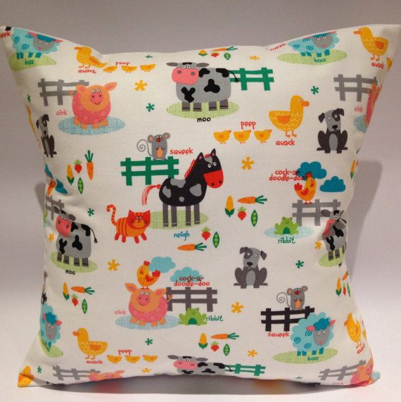 Farmyard cushion farmyard pillow farm cushion kids by LoveTorHome