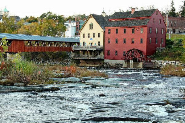 Franconia Notch State Park Littleton, New Hampshire . The Mill is right downtown and the adjacent covered bridge