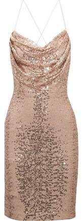 Beautiful blush dress! - Badgley Mischka Draped Sequined Tulle Dress -   On trend | sequins and glitter | dress | party outfit | sparkle | blush dress | pink dress | fashion | trends |   aff.