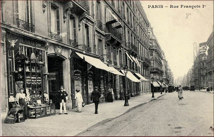 Vue de la rue François-1er vers 1900 (75008)