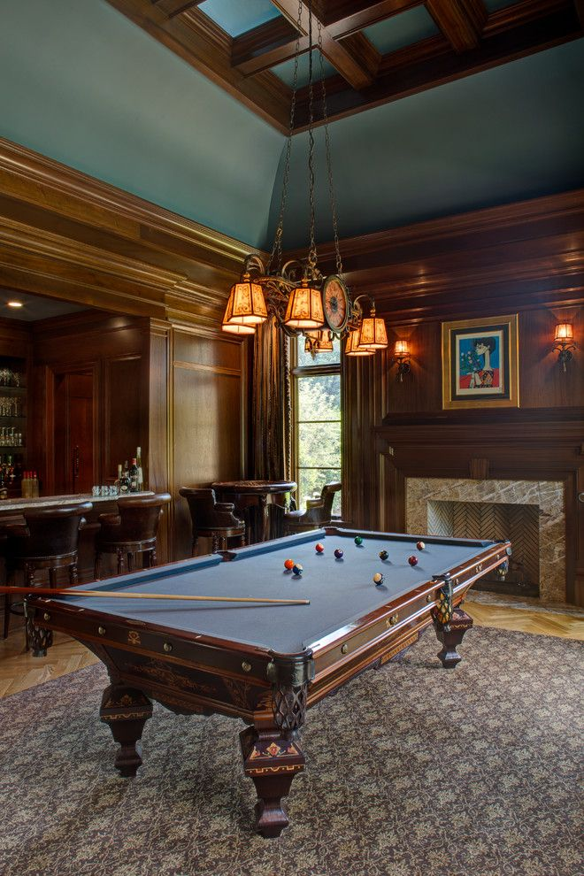 Awesome billiard room with mahogany wood paneling