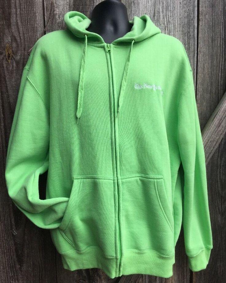 New York Times Hoodie Womens Mens XL Green Zip Up Sweatshirt Jacket Unisex News #Times #ZipUpHoodie