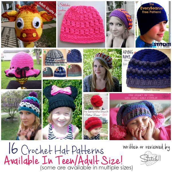 16 Crochet Hat Patterns - Available in Teen and Adult Size!