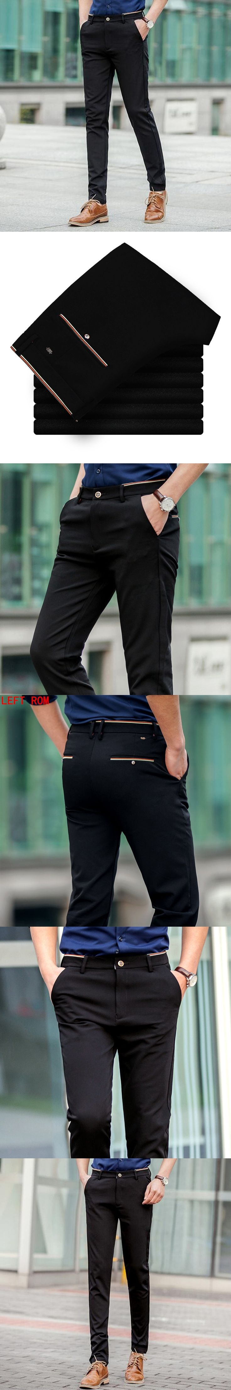 2017 Summer Business men Leisire pants trousers 28~34 black color Street beat Fashion tide male Casual pants Slim four stretch