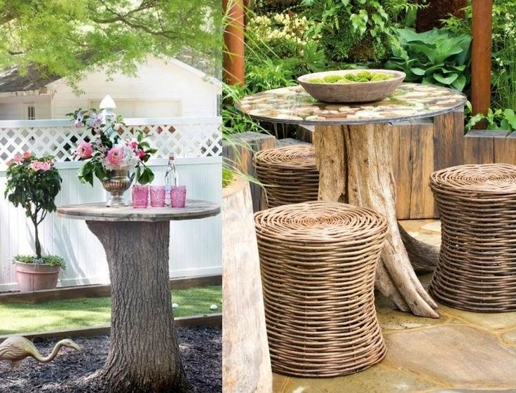 outdoor tisch aus massiven baumstamm und runder tischplatte diy home gartendeko selber. Black Bedroom Furniture Sets. Home Design Ideas