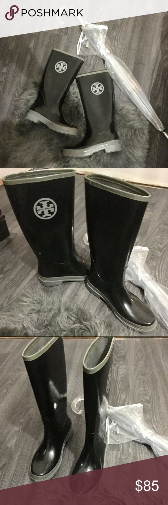 """Tory Burch rain boots new without box Tory Burch rubber slip on rain boots. Brand new without box.  Tory Burch Solid Rubber Black ladies' pull on rain boots.  H 14"""", heel height 1"""", heel wall to toe 11"""" size 9. Bundle and save 15% Tory Burch Shoes Winter & Rain Boots"""