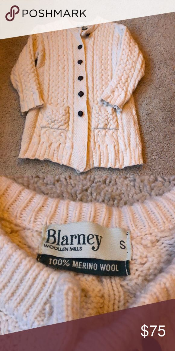 Blarney Woolen Mills Fisherman's Merino Sweater 100% Fine Irish Merino Wool fisherman's sweater. Longer length than a cardigan. Excellent condition and so warm and cozy.  Cable knit intermingles with other ancient traditional stitches.  Loose sleeve cuffs. Blarney Woolen Mills Sweaters Cardigans