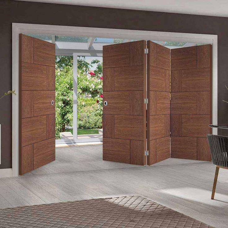 Thrufold Ravenna Walnut Flush 3+1 Folding Door - Prefinished - Lifestyle Image - #home #contemporary #doors