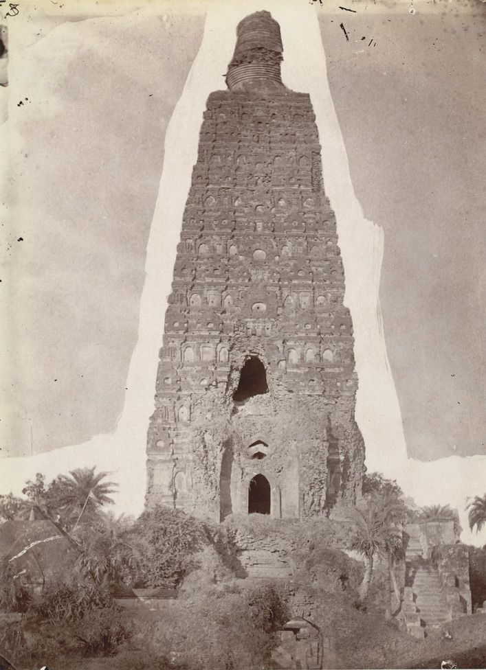 Photograph of the Mahabodhi Temple at Bodh Gaya, before repairs, from the Archaeological Survey of India Collections, taken by Joseph David Beglar in the 1860s.