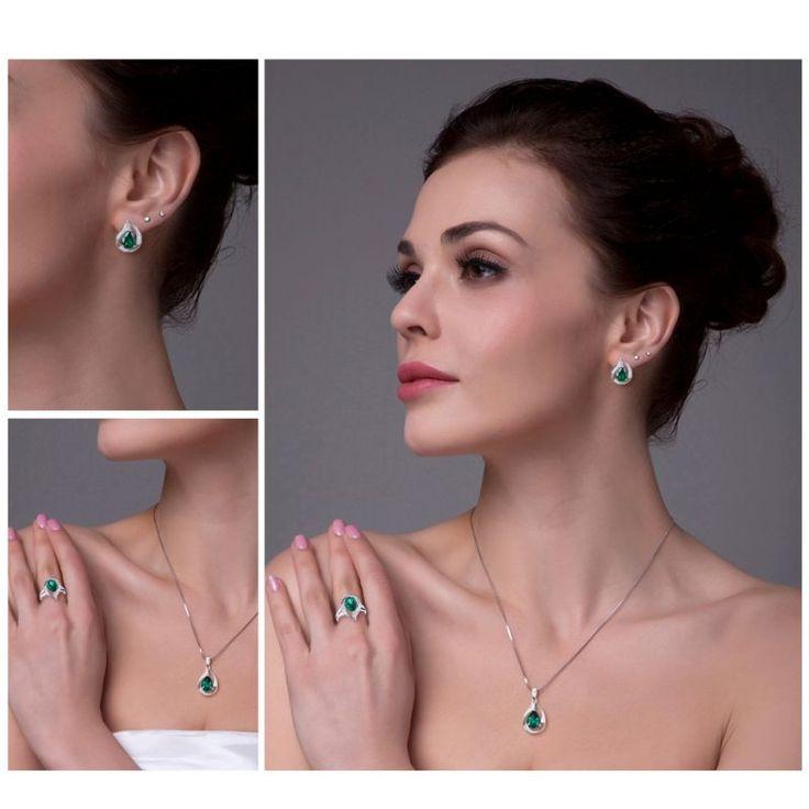 … 925 Sterling Silver Nano Russian Emerald Earrings Free shipping …