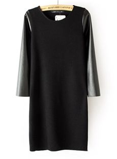 Top Quality Split Joint Long Sleeves Leather Day Dress Little Black Dresses- ericdress.com 10874819