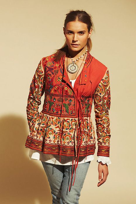 top created of ethnic embroidery… Nothing else needed with a top like this. :-)