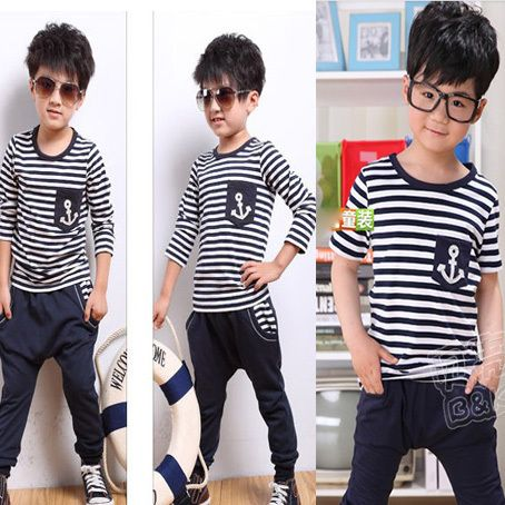 2014 lacivert tarzı erkek giyim bebek kısa + uzun kollu tişört kapriler pantolon çocuk çocuklar elbise seti, çocuk giyim damla nakliye US $10.15 - 14.13