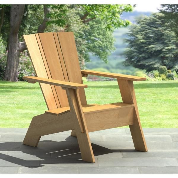 Unbranded Natural White Oak Wood Outdoor Adirondack Chair Ow3005 Dc The Home Depot In 2020 Wood Adirondack Chairs Adirondack Chair Folding Adirondack Chairs