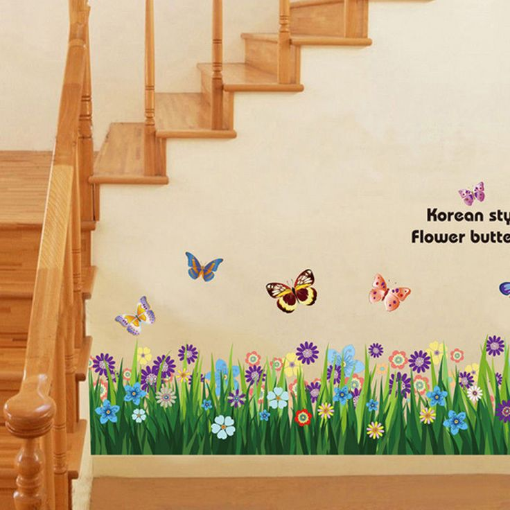 Flower Grass Butterfly Wall Border Decal Removable Windows Stickers Kids Decor #Unbranded #Modern