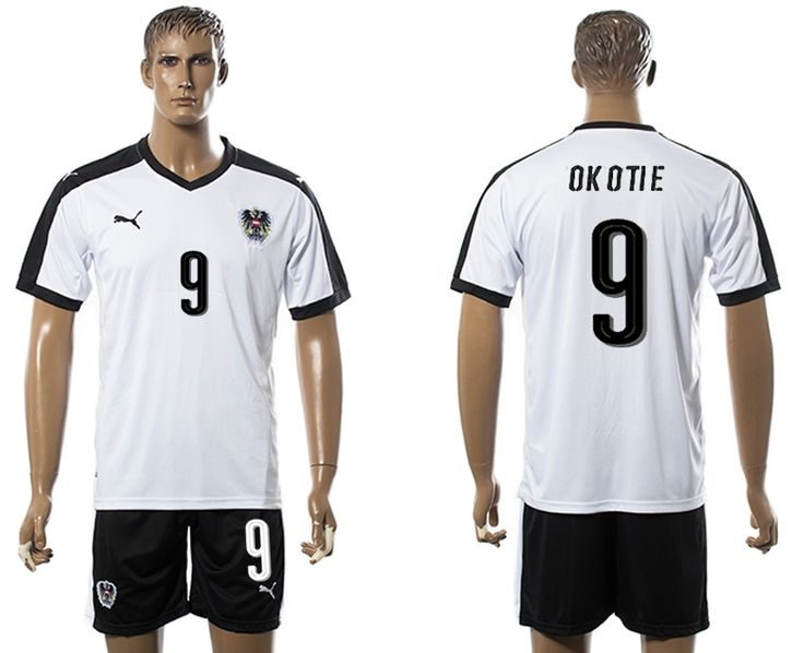 2016 Euro Cup Austria #9 OK OTIE Away White Soccer Jersey