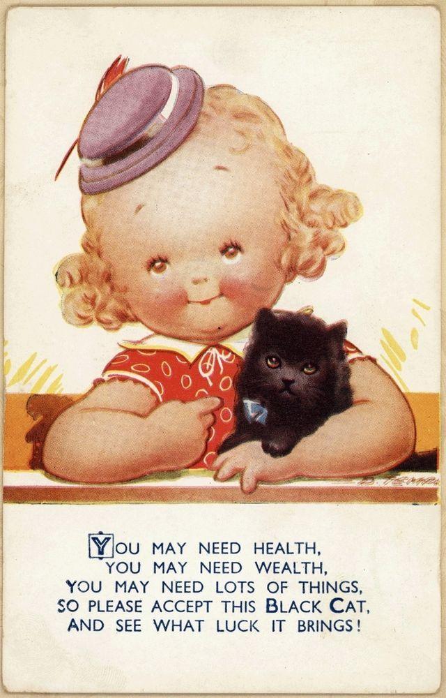 A/S D Tempest Cute Girl Lucky Black Cat Kitten Bamforth Vtg Antique Postcard