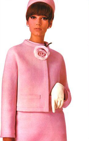 Inspiration: Pink Fashion. 1967 style vintage suit dress jacket skirt pale white hat gloves flower model magazine color photo print ad 60s