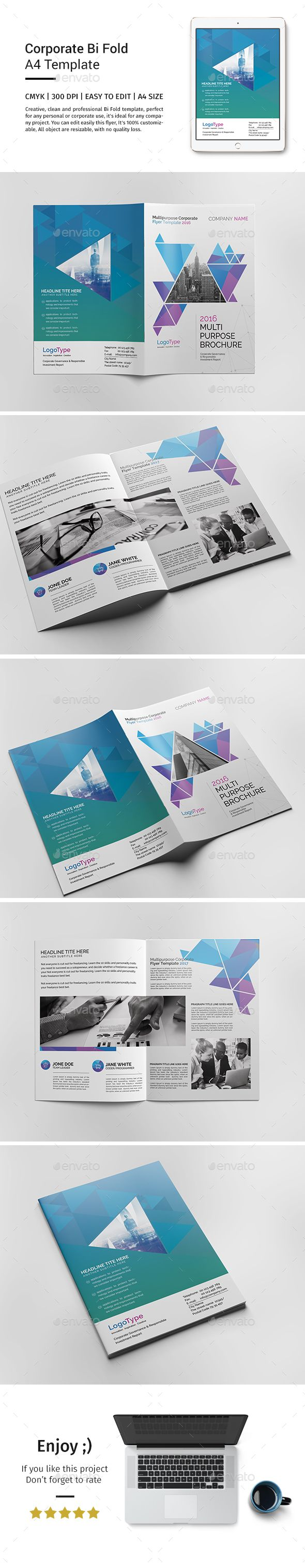 Corporate Bi-fold Brochure Template - Catalogs Brochures | Download http://graphicriver.net/item/corporate-bifold-brochure-template/15519317?ref=sinzo