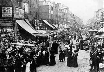 Chapel Market in Islington- This is how it looked in the victorian period, not much has changed accept the people are more colourful! lol