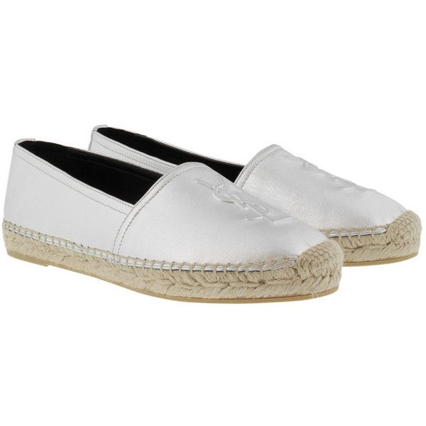 Saint Laurent Espadrilles - YSL Monogramme Espadrilles Leather Argento... (8,270 MXN) ❤ liked on Polyvore featuring shoes, sandals, silver, silver leather sandals, silver flat shoes, leather espadrille sandals, silver sandals and silver flat sandals