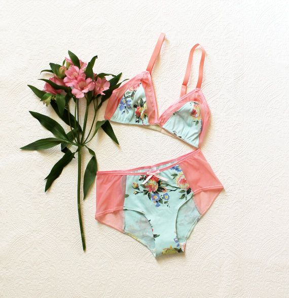 Pastel Floral 'Tropical' Mint and Pink Lingerie Set Handmade to Order, Ohhh Lulu