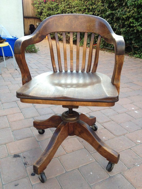 Vintage Wood Swivel Office Chair