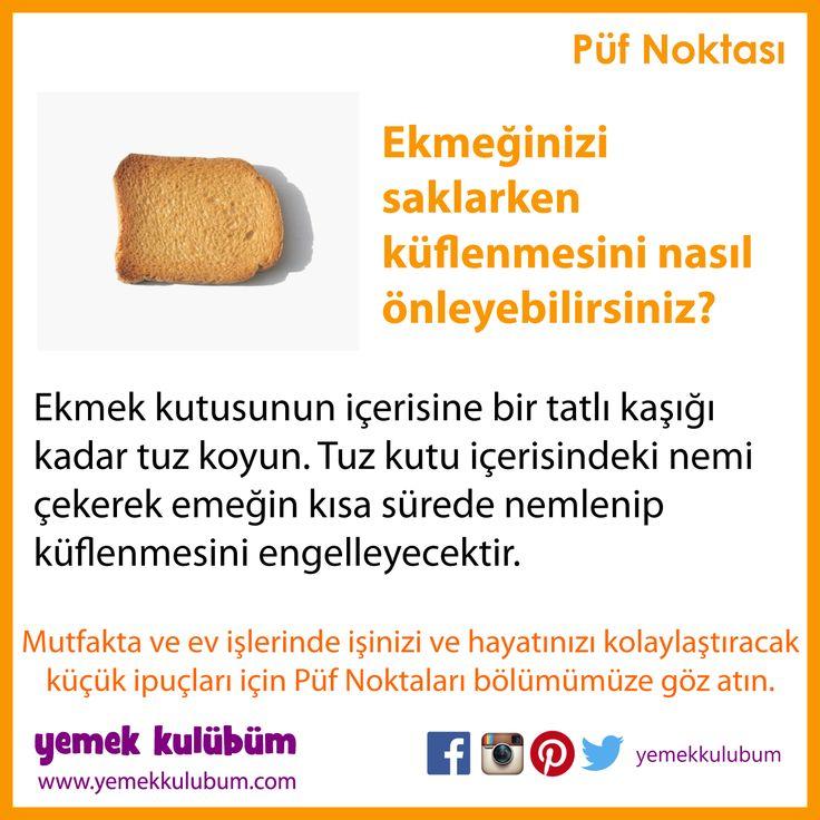 GIDALARI SAKLAMA YÖNTEMLERİ : Ekmek küflenmeden nasıl muhafaza edilir?  http://yemekkulubum.com/puf-noktasi-liste/gidalarin-saklanmasi-ile-ilgili-puf-noktalari  #gıdasaklama #gıdamuhafaza #ekmek #ekmekküfü #küf #pratik #pratikbilgi #püfnoktası #pratikbilgiler