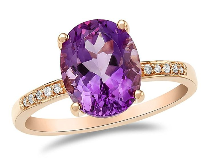 LALI Classics 14kt Rose Gold Amethyst Oval Ring Size 6