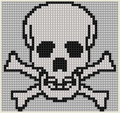 This listing is for a skull and cross bones counted cross-stitch pattern. Photograph - Cross stitch visualization of pattern. Pattern