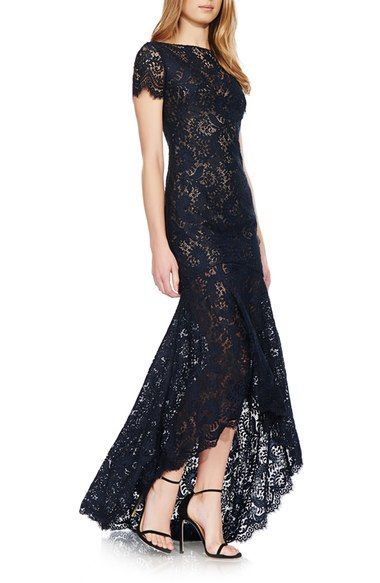 Theia Lace High/Low Gown available at #Nordstrom