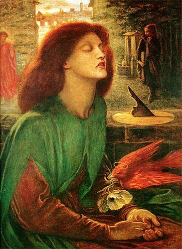 """Beata Beatrix, 1872 Dante Gabriel Rossetti, Londres. La tabla ilustra el poema """"Vita Nuova"""" de Dante y un retrato de Beatrice Portinari en el momento de su muerte. Rossetti representa la apariencia de su difunta esposa, Elizabeth. El hombre con salida parada en la parte superior derecha es Dante e inferior de la imagen muestra una vista de Florencia. Dante describió la escena en su poema """"Lo que es bendito por Beatrice, que ahora se mira el rostro, bendita entre toda la eternidad."""""""
